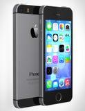 显示有iOS7的IPhone 5s家庭屏幕 免版税库存照片