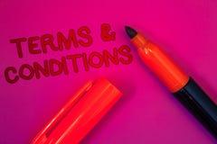 显示期限和条件的概念性手文字 企业照片文本法律法律协议声明制约解决 库存图片