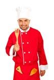 显示木器物的滑稽的厨师 图库摄影