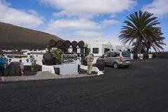 显示杂货店的兰萨罗特岛的独特的葡萄园 免版税库存照片