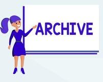 显示档案的文本标志 概念性照片收藏历史文件记录提供信息 向量例证