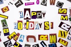 显示概念的节日快乐的词文字文本由企业案件的另外杂志报纸信件制成在白色b 库存图片