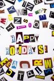 显示概念的节日快乐的词文字文本由企业案件的另外杂志报纸信件制成在白色b 免版税库存图片