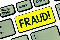 显示欺骗的文字笔记 陈列非法的犯罪欺骗的企业照片意欲个人的结果财政或 免版税图库摄影