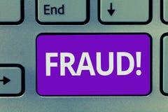 显示欺骗的概念性手文字 企业照片文本非法的犯罪欺骗意欲财政的结果或 免版税库存图片