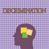 显示歧视的概念性手文字 陈列陈列不同的类别的造成偏见的治疗的企业照片  向量例证