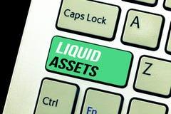 显示流动资产的概念性手文字 企业照片文本现金和银行存款余额销售延期的流动资产 免版税库存图片