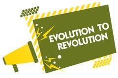 显示演变的文字笔记对革命 企业照片陈列的适应生活方式生物和人的Megapho 库存图片