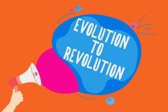 显示演变的文字笔记对革命 企业照片陈列的适应生活方式生物的和人供以人员hol 免版税库存图片