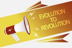 显示演变的文本标志对革命 适应生活方式的概念性照片生物和人扩音机loudspeak的 免版税库存照片