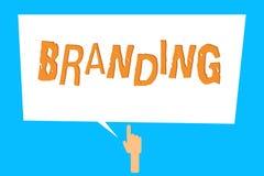 显示烙记的概念性手文字 企业照片陈列分配名牌到某事企业销售方针 向量例证