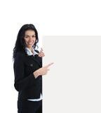 显示牌妇女年轻人的空白商业 库存图片