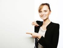显示牌妇女年轻人的空白商业 免版税库存图片
