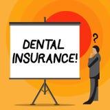 显示牙科保险的文字笔记 个体的企业照片陈列的覆盖面能保护他们以防止费用 库存例证