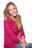 显示牙齿括号的青少年的女孩画象 库存照片