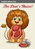 显示狮子的英国成语 库存图片
