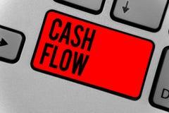 显示现金流动的文本标志 里里外外影响流动资产键盘红色关键意图的金钱的概念性照片运动 免版税库存照片