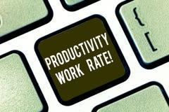 显示生产力生产率的文本标志 对小组或工作者键盘的效率的概念性照片评估 免版税库存图片
