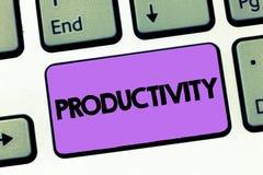 显示生产力的文本标志 概念性照片状态或质量是有生产力的有效率成功 免版税图库摄影