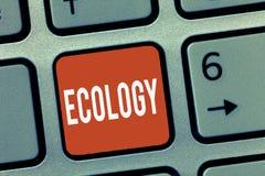 显示生态的概念性手文字 科学联系有机体环境科学stu企业照片陈列的分支  免版税图库摄影