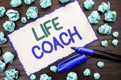 显示生活教练的文字笔记 企业照片陈列的良师引导的就业指导鼓励教练员辅导者书面  库存图片