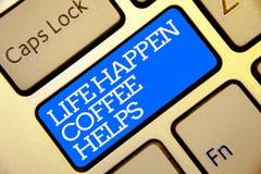 显示生活的文字笔记发生咖啡帮助 当有问题麻烦金黄col时,企业照片陈列有一份热的饮料 库存图片
