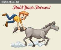 显示男孩的成语拿着马 免版税库存照片