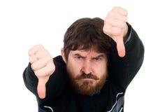 显示略图的有胡子的人的纵向下来。 库存照片