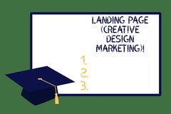 显示登陆的页创造性的设计行销的文本标志 给概念性照片的主页社会媒介毕业做广告 向量例证