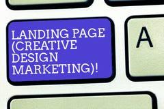 显示登陆的页创造性的设计行销的文本标志 给概念性照片的主页社会媒介键盘做广告 免版税库存图片