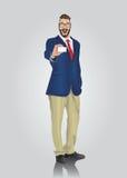 显示白色卡片的愉快的穿着体面的商人 免版税库存图片