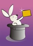 显示白色的横幅空的魔术兔子 免版税库存图片