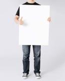 显示白色空白的委员会和赞许的人 免版税库存照片
