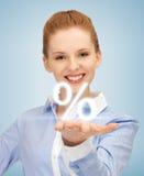 显示百分之的迹象妇女在她的手 免版税库存照片