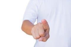 显示的手指向与裁减路线的姿态 免版税库存照片