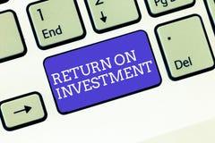 显示的文字笔记回收投资 在被投资的净盈利和费用之间的企业照片陈列的比率 免版税库存图片