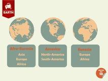 显示的非洲的欧亚大陆、美国和欧亚大陆支持的套地球 库存照片