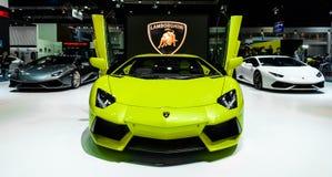 显示的Lamborghini摊在第37个曼谷国际汽车展示会 库存照片