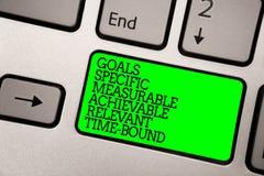 显示目标具体可测量的可达成的相关的时间区域的概念性手文字 企业照片陈列的战略Missi 免版税库存照片