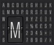 显示目的地和时间表传染媒介例证的轻的机场终端机械记分牌字母表 皇族释放例证
