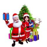 显示礼物盒的圣诞老人在圣诞树之前 免版税库存图片