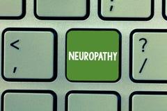 显示神经病的文本标志 感觉神经损失的概念性照片故障在手和脚 库存图片