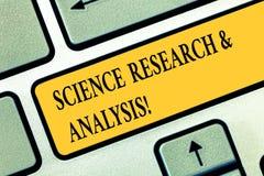 显示科学研究和分析的概念性手文字 企业照片文本实验室医疗调查 向量例证