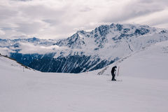 俯视的Ischgl滑雪胜地 免版税库存照片