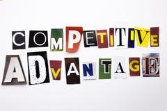 显示竞争优势的概念词文字文本由企业案件的另外杂志报纸信件制成在 免版税图库摄影