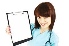 显示符号的空白剪贴板医生护士 免版税库存图片