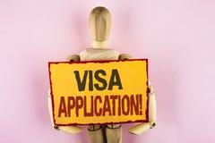 显示签证申请诱导电话的概念性手文字 企业照片提供您的基本信息wr的文本板料 免版税库存照片