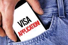 显示签证申请诱导电话的概念性手文字 提供您基本的informat的企业照片陈列的板料 免版税图库摄影