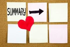 显示简要的回顾企业概要的概略概念和爱的概念性手文字文本说明启发写在wo 库存照片