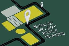 显示管理的安全提供商的概念性手文字 企业照片文本安全数据技术 库存例证